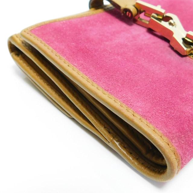 GUCCIグッチ 二つ折り財布 ピンク×茶 035・2067 良品 正規品