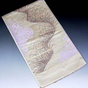 【袋帯】西陣織 ベージュ地 九百錦花柄 未使用品