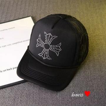 送料無料クロムラインストーンブラッククロス十字架キャップ帽子