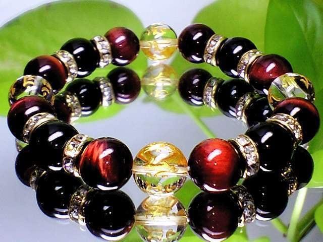 金彫り七種梵字水晶・赤虎目レッドタイガーアイ・黒瑪瑙開運数珠 < 女性アクセサリー/時計の