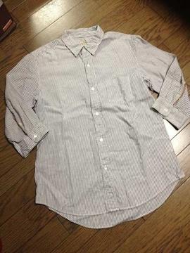 美品JOURNAL STANDARD レザー使用ストライプシャツ ジャーナル