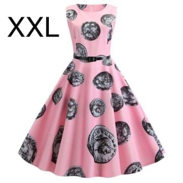 新品☆ベルト付き♪ふんわり綺麗ワンピース ピンク XXL