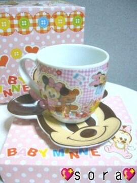 ディズニー【ミニー】可愛い♪マグ&プレート2点セット