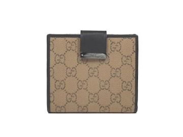 正規美品グッチ財布GG二つ折りGGキャンバスロゴコンパク
