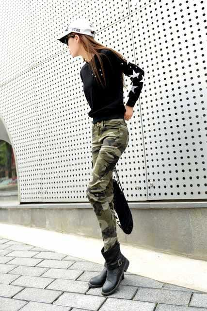 カーゴタイプ★スキニー★ストレッチ迷彩パンツ(30インチ) < 女性ファッションの