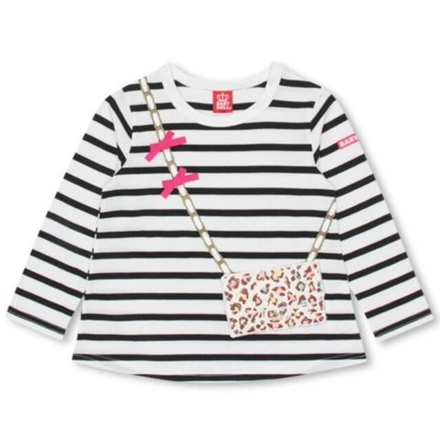 新品BABYDOLL☆100 フェイク ポシェット ロンT ボーダー Tシャツ ベビードール  < ブランドの