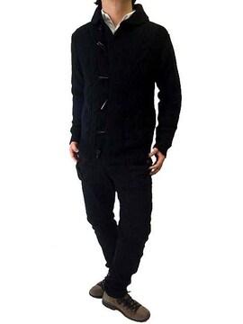 トグル&ケーブル編みニットカーディガンMブラック黒black新品※2点送料無料