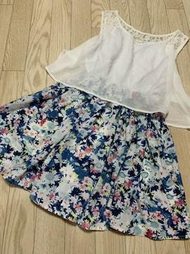 N461/CHUXXX/FREEサイズ/ブルー×ホワイト/花柄/ミニワンピ/