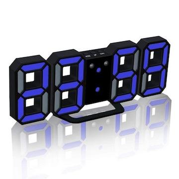 LEDデジタル目覚まし時計ブラック本体+ブルー