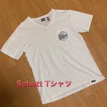 【SCHOTT】Tシャツ Vネック ホワイト