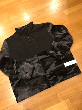 Calvin Klein ◆フリースJK フルジップ 袖ロゴ (XXL)黒 迷彩