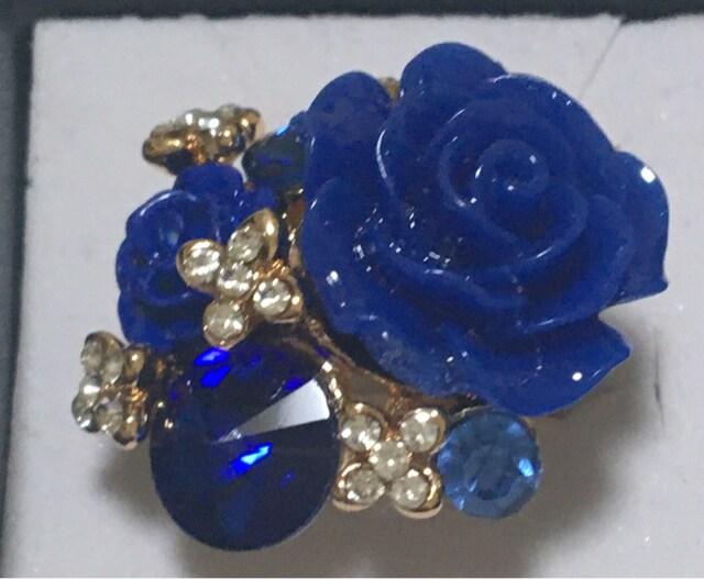 豪華なバラの花型ファッションリング フリーサイズ 送料120円