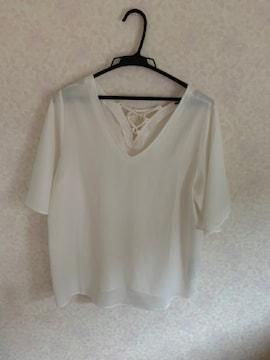 アズールバイマウジー2way白ブラウスシャツ袖フレア五分袖M美品