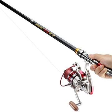 初心者 釣り竿セット ルアーセット カーボン製 2.4M
