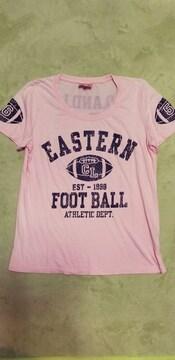 COELUコエルFOOTBALLロゴバックプリント綿ピンク半袖丸首Tシャツ