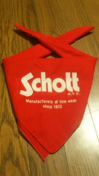 ¶Schott N.Y.C.[ショット]★ロゴプリント・バンダナ 赤・レッド/送料\90〜