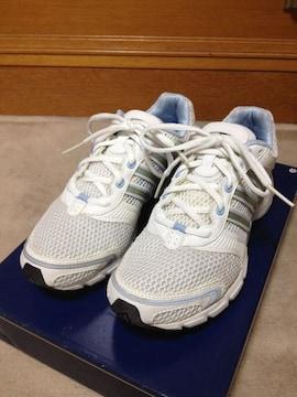 adidas アディダス ランニングシューズ スニーカー靴 24cm 白色+青水色 ジョギング