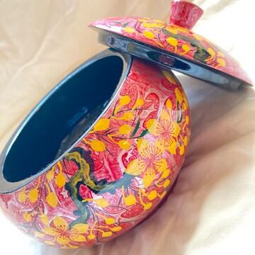 ベトナム食器 漆お土産ピンク ジュエリーケース◎アジアン雑貨