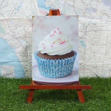 新品【ブリキ看板】Cupcake/カップケーキ Blue