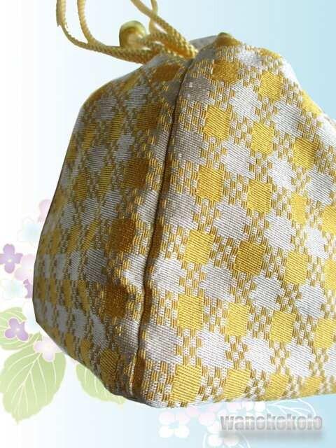 【和の志】浴衣用巾着◇黄色系・チェック柄◇KYK-18 < 女性ファッションの