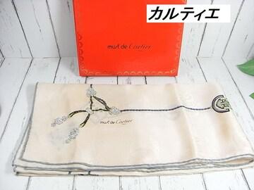 500スタ☆本物極美品カルティエ シルクスカーフ ピンクベージュ宝飾柄