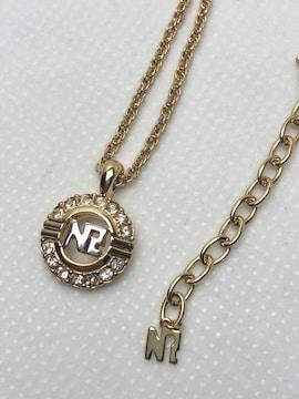 N201 極美品★ ニナリッチ ロゴ ラインストーン ネックレス