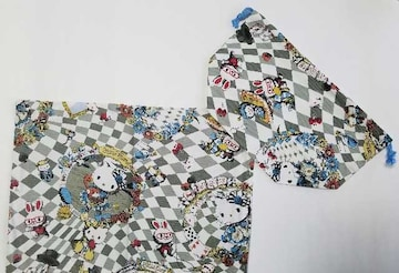 特価  ◆ 75a ランチマット&弁当入れ巾着 2点セット(^o^)ハンドメイド