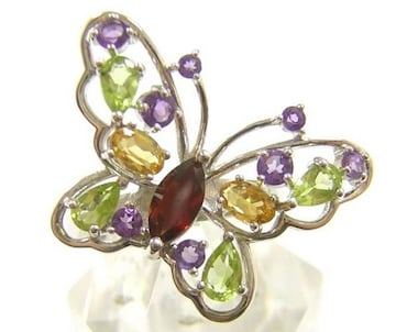 新品 マルチカラー天然石 バタフライリング 蝶々 指輪