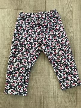 女の子裏起毛暖か小花柄パンツ90長ズボン