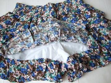 159新品★ミニスカート風 ショートパンツ 青 小花柄