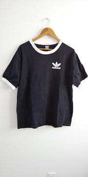 adidas ラインTシャツ L