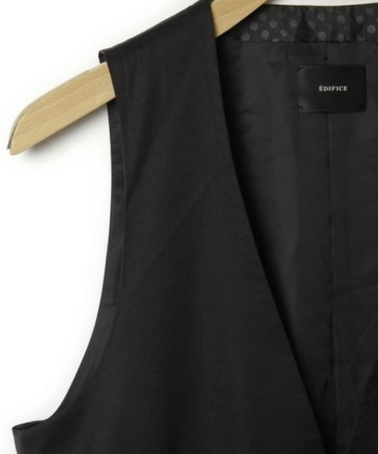 □EDIFICE/エディフィス ウール スーツベスト/メンズ/38/黒 < ブランドの