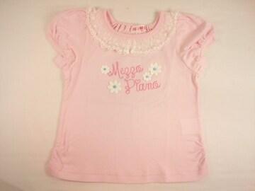 値下げセールメゾピアノレースフリル&お花モチーフ付きロゴ刺繍の半袖Tシャツ