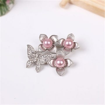 新品ゴスロリ姫系アンティーク調お花と蝶のブローチ 銀色