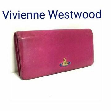 正規 Vivienne Westwood レザー 長財布 ピンク オーブ