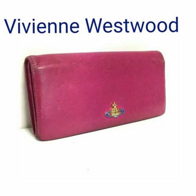 正規 Vivienne Westwood レザー 長財布 ピンク オーブ  < ブランドの