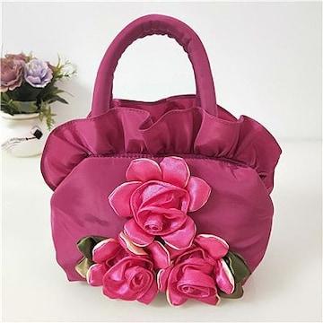 新品ローズ&フリルやわらかナイロンハンドバッグ桃色ピンクレディースバラ