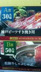 タイアップ★神戸ビーフすき焼き用/松阪牛しゃぶしゃぶ当たる★1ロ