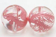 ☆ピンクの鳳凰☆天然水晶彫りビーズ☆12mm