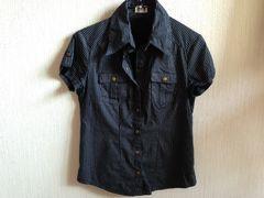 Indioインディオストライプシャツ半袖ネイビー紺色