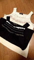 大きいサイズ☆胸元華やかゴージャスレースのタンクトップ色違い2枚セット*3L