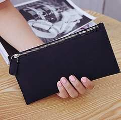 スリムコンパクト スエード調長財布  カード入れも有 ブラック