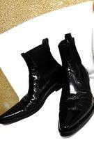 正規美 ドルチェ&ガッバーナ D&G クロコ調サイドゴアブーツ黒 6.5 ドルガバ 25 S