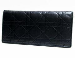 特価品 本物 ディオール 二つ折り長財布 レザー 黒