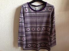 ノルディック柄長袖カットソートップス紫色パープルグレー