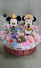 【即決】ミッキー&ミニーひな祭り小物入れ風オブジェアレンジ品