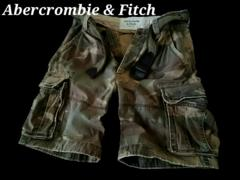 【Abercrombie&Fitch】Vintage Destroy ベルト付カーゴショーツ 34/Camo