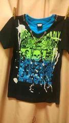 新品◆チェーンリングアクセ付ドクロ柄リブ風Tシャツ◆140半袖
