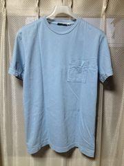 SASSAFRAS ササフラス 無地 ポケット 半袖Tシャツ Sサイズ ユーズド加工 青 水色