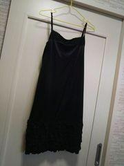 M 裾フリル付き 胸元レースサテンワンピース ペチコートスリップ